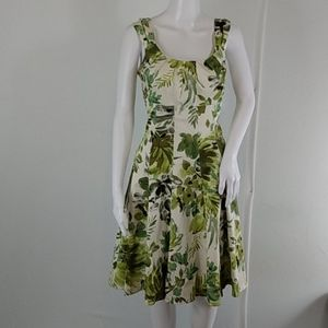 New Directions Green Floral Retro Styled Dress
